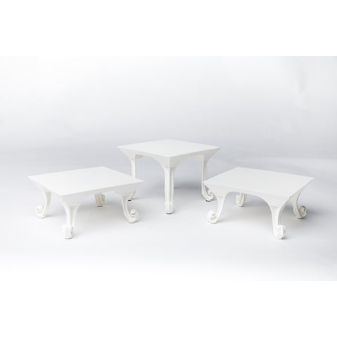Set of 3 White Risers