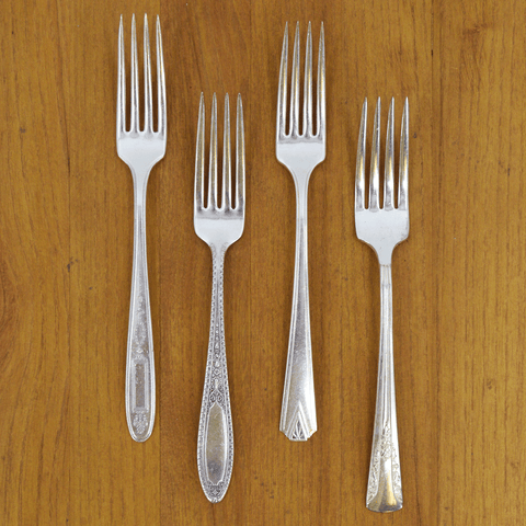 Vintage Silver-Plate Dinner Fork Set of Four