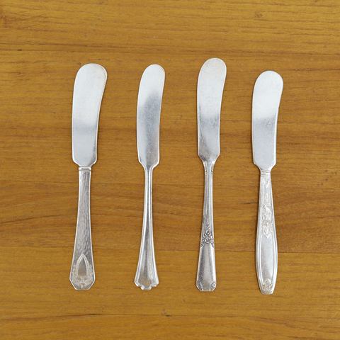 Vintage Silver-Plate Butter Spreader Set of Four