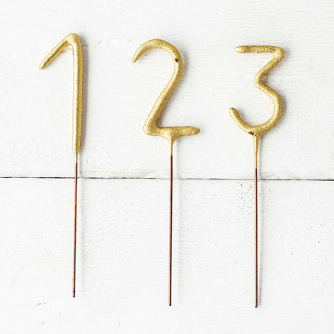 Gold Number Cake Topper Sparklers