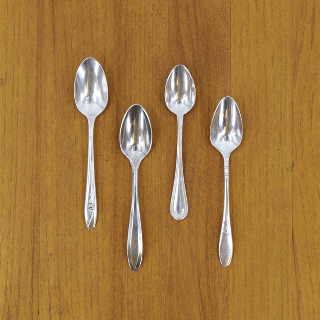 Vintage Silver-Plate Demitasse Spoon Set of Four