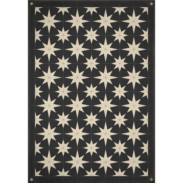 Stars Aplenty on Black Vinyl Rug