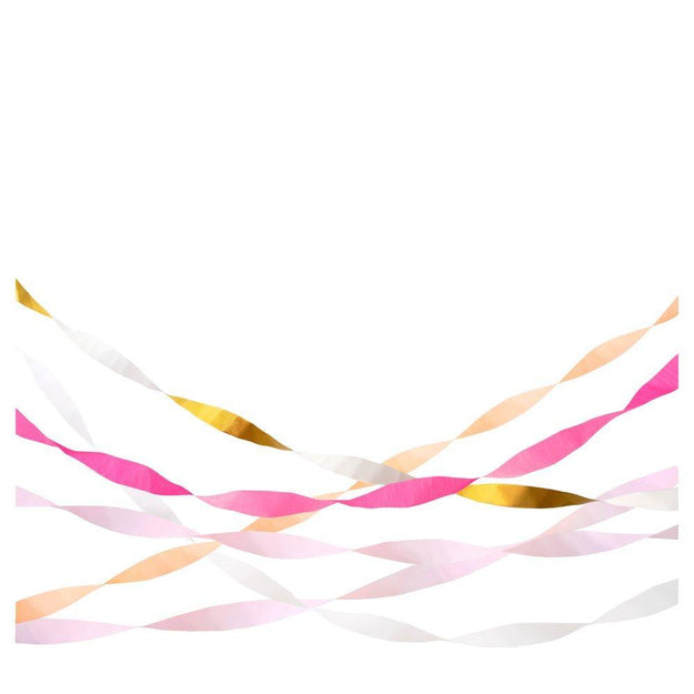 Pink Crepe Paper Streamer Set of Five
