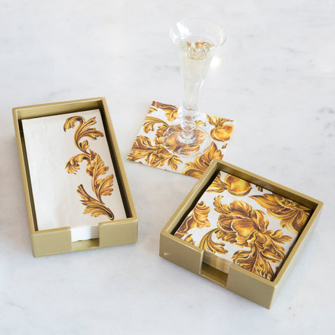 Beverage Napkin Caddy in Gold