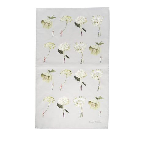 In Bloom Green Flowers Tea Towel