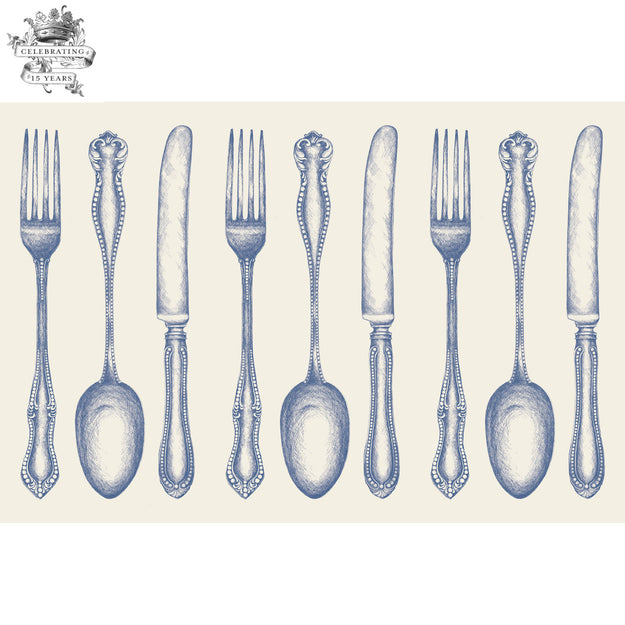 Vintage Blue Cutlery Placemat