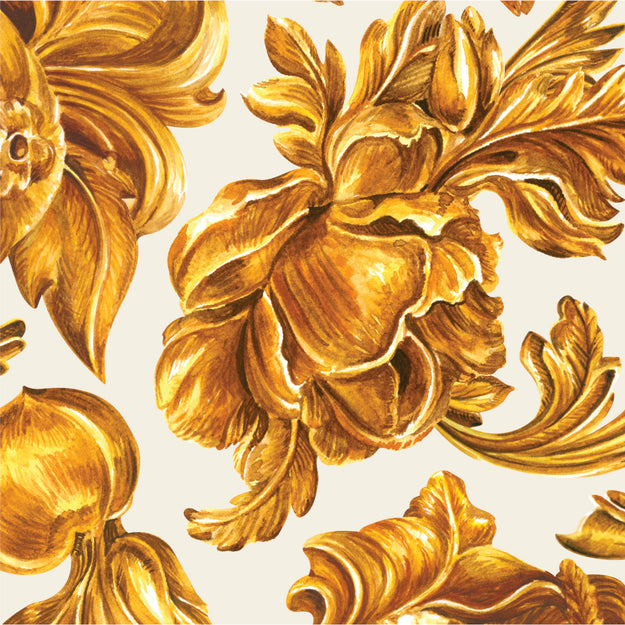 Gold Flora Cocktail Napkin