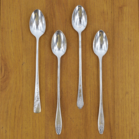 Vintage Silver-Plate Long Handled Teaspoon Set of Four