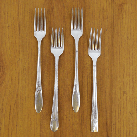Vintage Silver-Plate Long Handled Salad Fork Set of Four