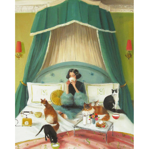 Mademoiselle Mink Breakfasts in Bed Small Art Print