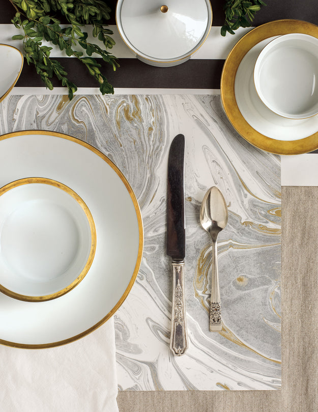 Very Gray & Gold Marbled Paper Placemats – Hester & Cook NM59