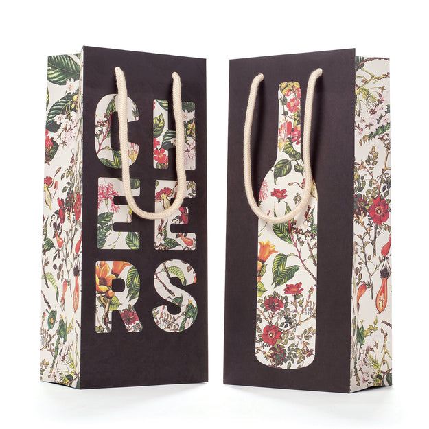 Floral Silhouette Wine Bag