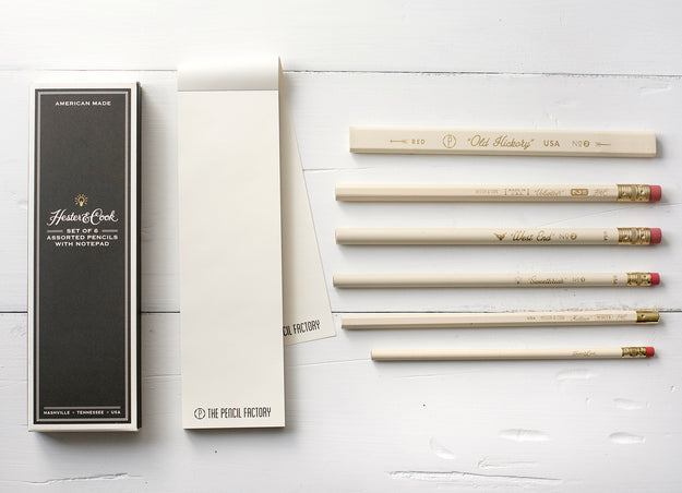 Set of Six Assorted Pencils with Notepad
