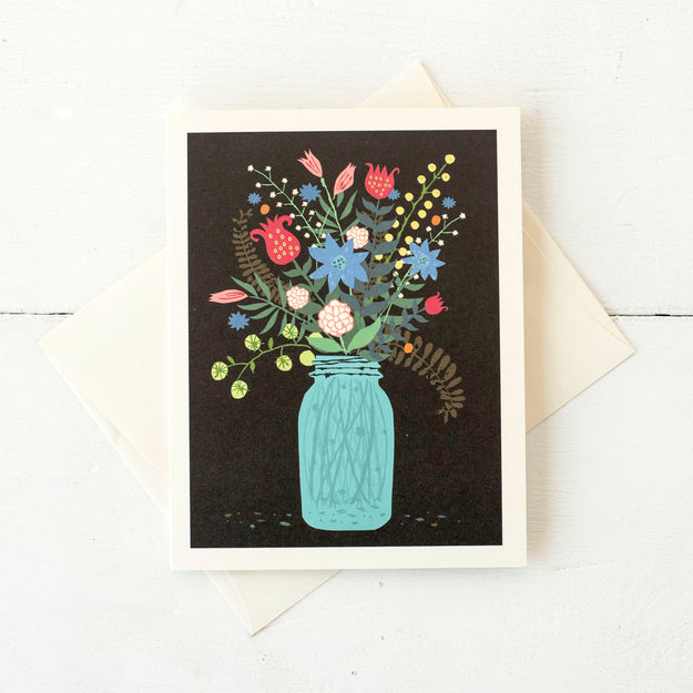 Mason Jar Bouquet Card