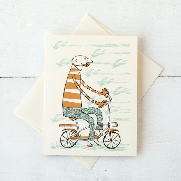 Hipster Bicyclist Card