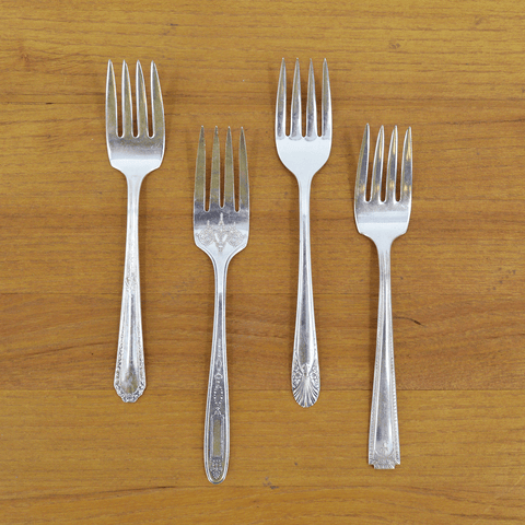 Vintage Silver-Plate Salad Forks set of Four