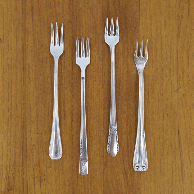 Vintage Silver-Plate Seafood Fork Set of Four