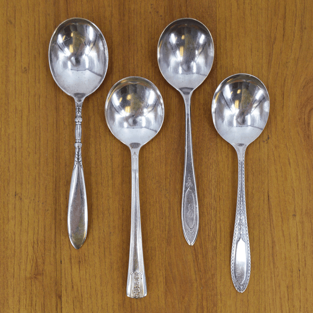 Vintage Silver-Plate Soup Spoon Set of Four