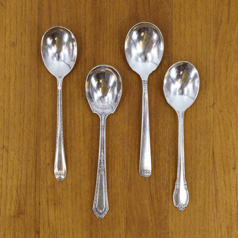 Vintage Silver-Plate Sugar Spoon Set of Four