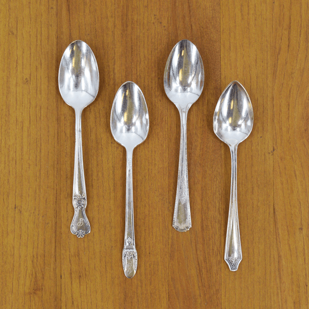 Vintage Silver-Plate Teaspoon Set of Four