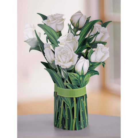 White Roses Pop Up Flower Bouquet