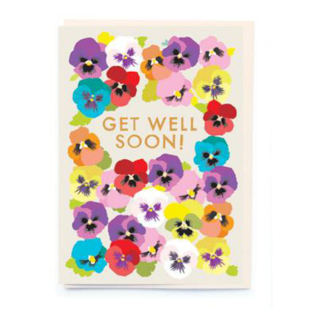 Get Well Soon Pansies Card