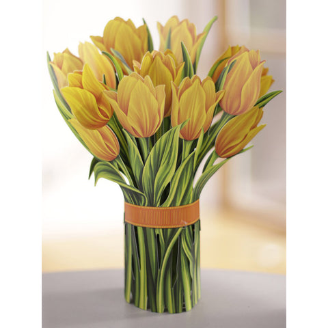 Yellow Tulips Pop Up Flower Bouquet