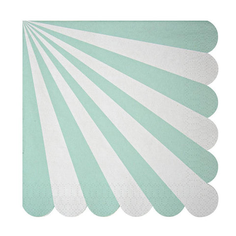 Aqua Fan Stripe Large Napkins