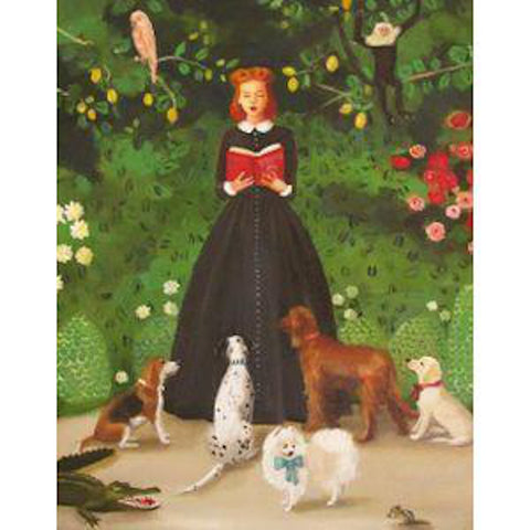 Miss Moon Was a Dog Governess - Lesson One Small Art Print