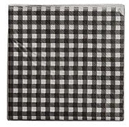 Black Gingham Check Beverage Paper Napkins