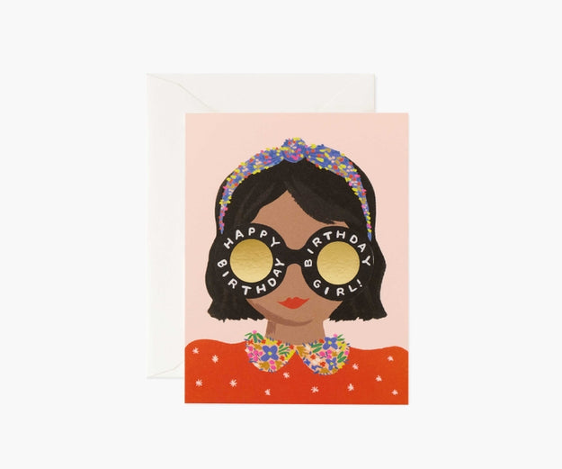 Headband Birthday Girl Greeting Card