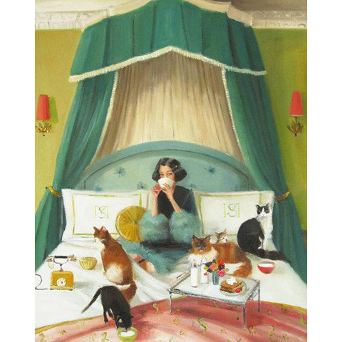 Mademoiselle Mink Breakfasts in Bed Large Art Print