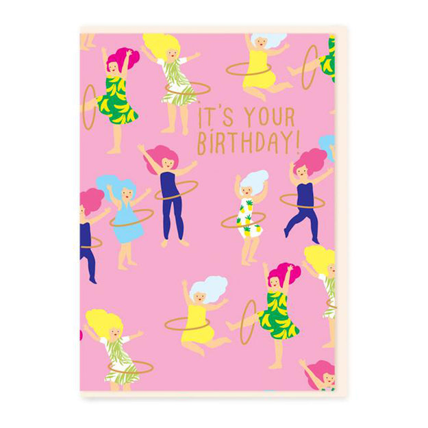 Hoola Hoop Girls Birthday Card