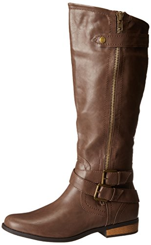 Rampage Women's Hansel Wide Calf Zipper and Buckle Knee-High Riding Wide Calf Boot