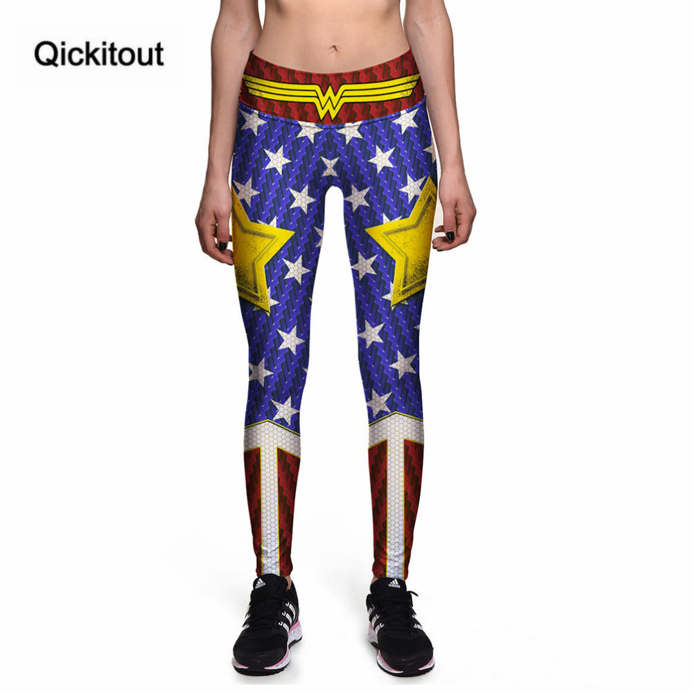 Leggings New Fashion Sexy High waist Captain America Star Stripes 3D