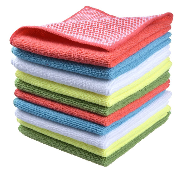 Sinland 10pcs Microfiber Kitchen Dish Cloth With Poly Assort Colors