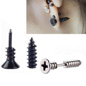 1 pcs gold black and silver plated nail screw stud earring