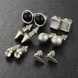 17KM 6Pcs/Set Silver Color Ball Crystal Stud Earrings