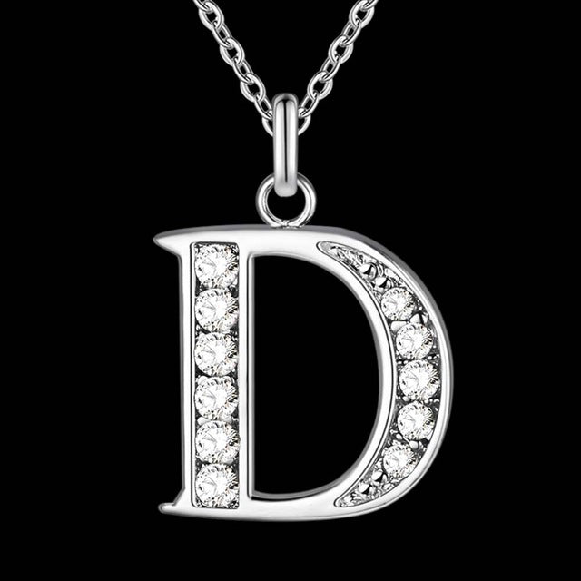 Letter A-S  Free Shipping silver plated Necklace