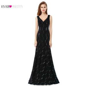 Deep V Neck Natural Waist Sparkle Floor Length Special Party Gowns Prom Dresses