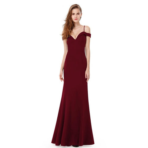 V-neck Women's Elegant Off-the-shoulder Sleeveless Long Dress