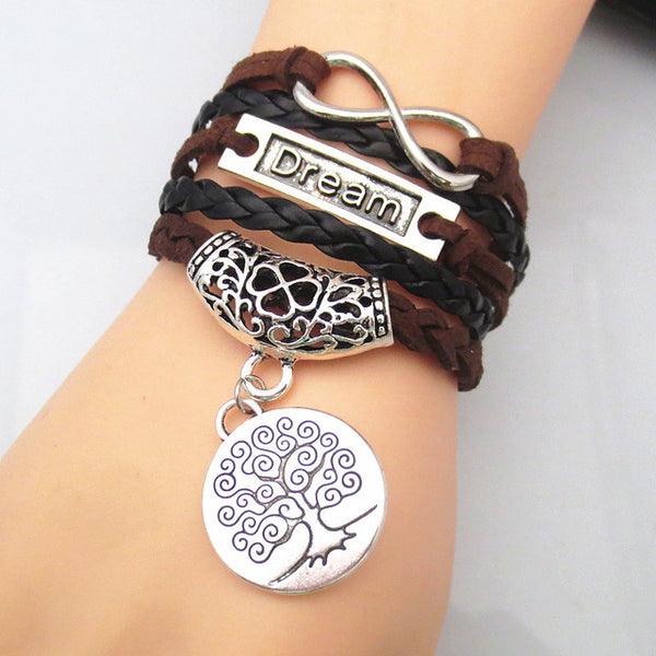 drop shipping charm never give up bracelets believe in love bangle tree of life jewelry fashion man girl bangles