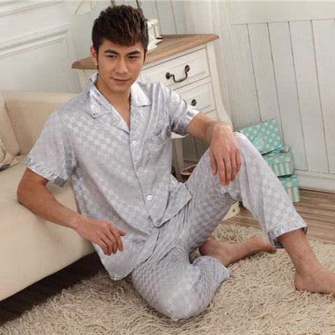 Autumn Men Silk Pajamas Sets of Sleepshirt & Trousers Adult Sleepwear Man Loungewear Plus Size 3XL