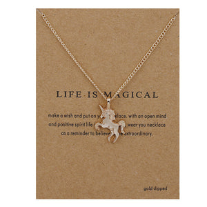 Fashion Jewelry Life Is Magical Unicorn Statement Necklace Women Girl Chocker Pendant