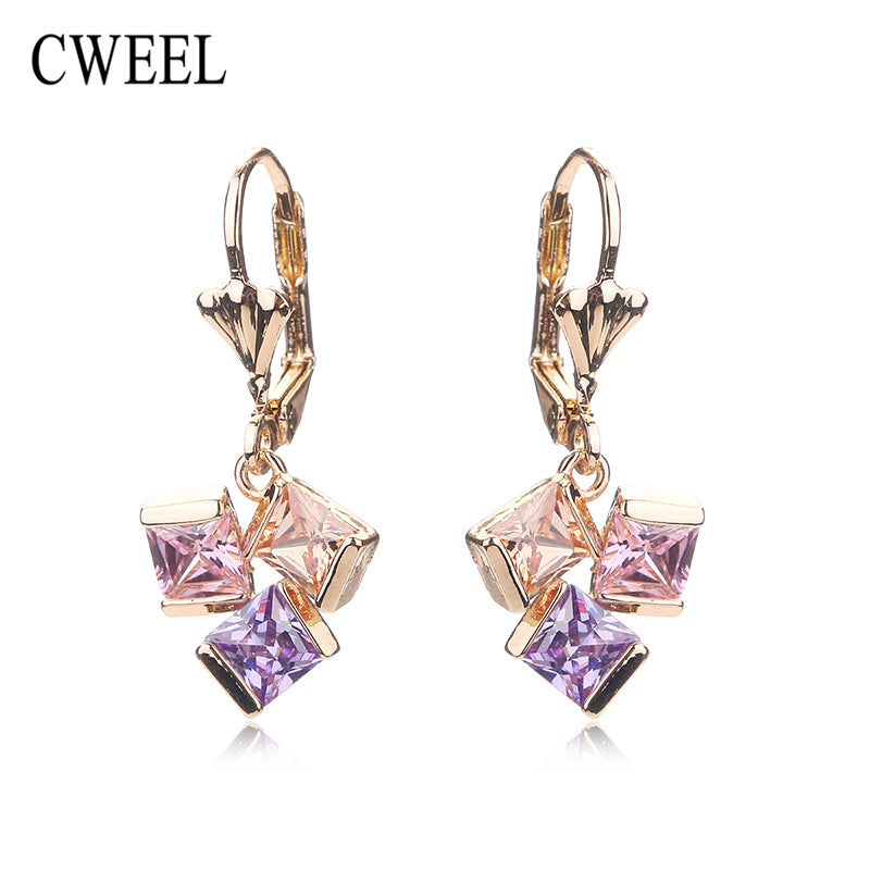CWEEL Stud Earrings For Women Party Imitated Crystal Teen Girls Gold Color Wedding Bridal Holiday Fashion Earring Accessories