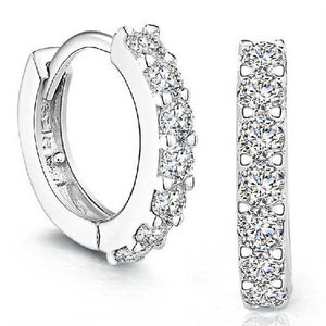 1 Pair Silvering Plated Small Round Rhinestones Hoop Earrings
