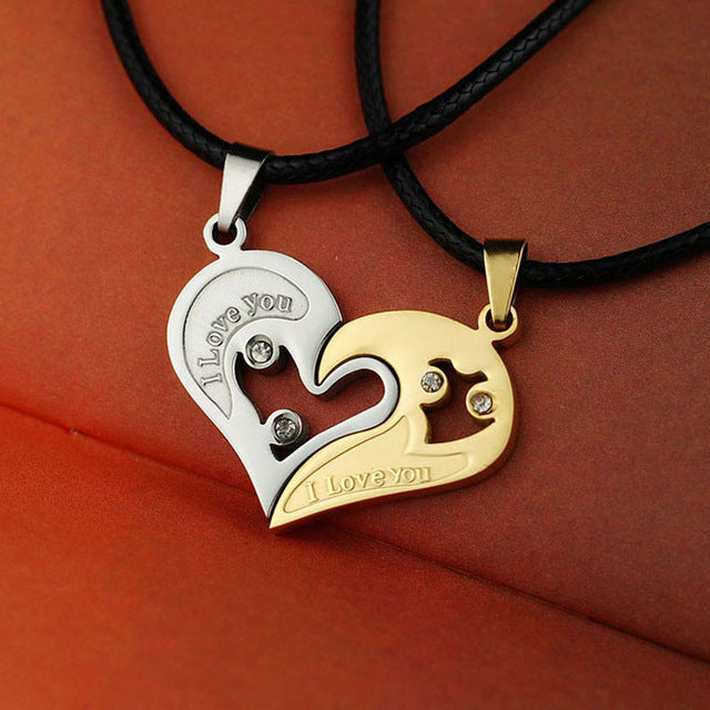 1 set Unisex Women Men I Love You Heart Shape Pendant Necklace