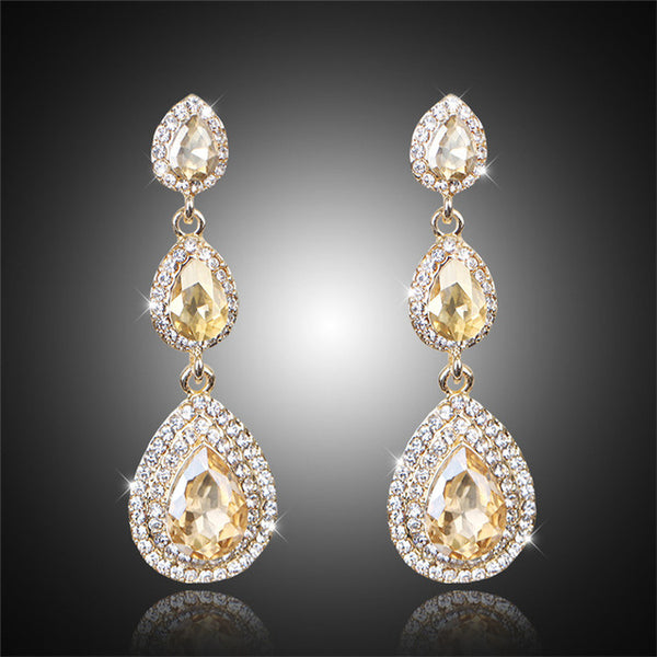 Top Luxury Champagne Crystal Earrings Gold Color Jewelry Fashion Female Bricons Wedding Long Big Drop Earrings For Women