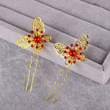 3 Pcs Bride Butterfly Crystal Rhinestone Hair Pin Wedding  Accessories