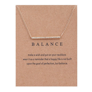 Gold-color Balance Wood Straight Bar Alloy Clavicle snake Pendant Short Necklace